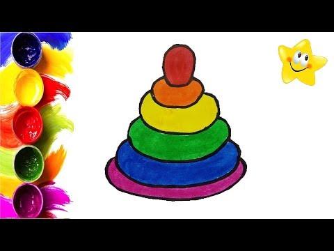 Рисунок, раскраска для детей ПИРАМИДКА. Мультик - Раскраска. Учим цвета. Стихи для детей.