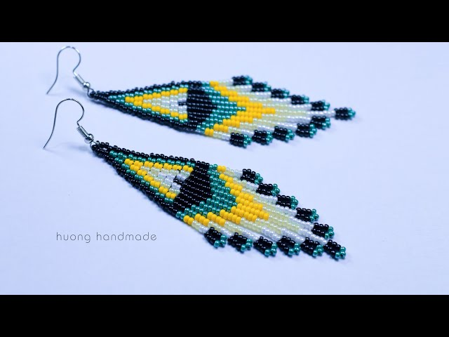 Native American Style Earrings || Jewelry making || Brick stitch and fringe beaded earrings tutorial