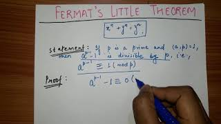Fermat's Little Theorem , Number Theory, Fermat's Theorem.