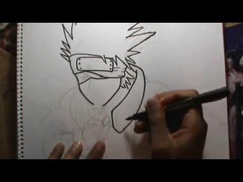 Dibujando a KAKASHI (Naruto) a lápiz en vivo - YouTube