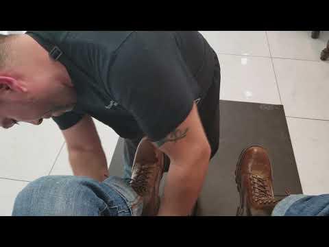 ASMR Shoe Shine Logger Boots in Salt Lake