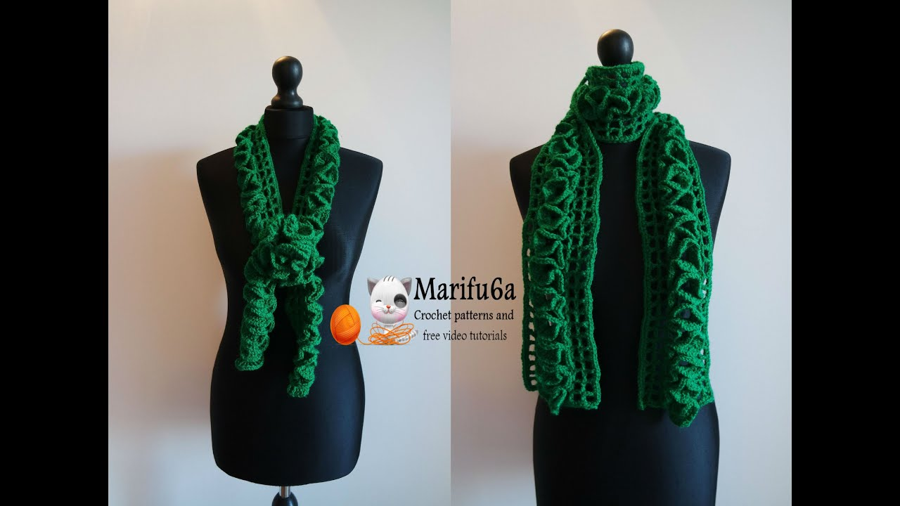 How To Crochet Ruffle Scarf For Beginners Pattern Free Tutorial