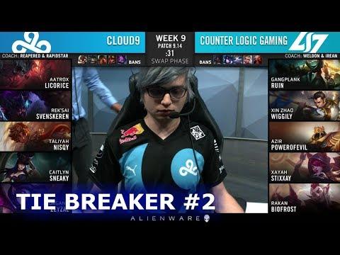 C9 vs CLG - Tie Breaker | Week 9 Day 2 S9 LCS Summer 2019 | Cloud 9 vs CLG W9D2