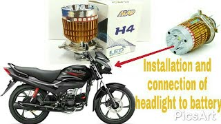 How to install h4 led bulb in bike    बाइक में एलीडी बलफ कैसे लगाएँ ।