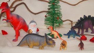 Динозавры. Новый год и дед Мороз. Подарки для динозавров. Мультик для детей
