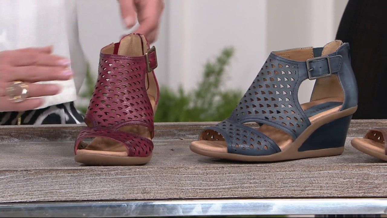 a8d424c7ddfc Earth Leather Cut-out Wedges - Danae on QVC - YouTube