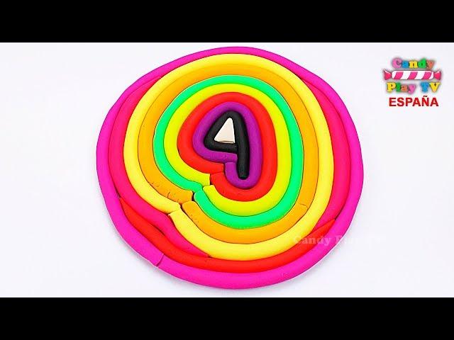 Aprende colores de plastilina play doh en español para niños Como hacer los número cuatro Paly Doh