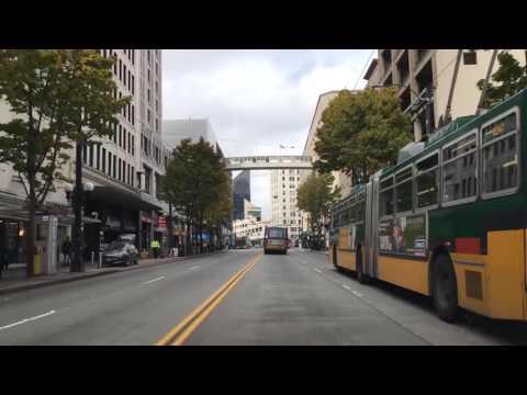 Driving Downtown Seattle Washington USA