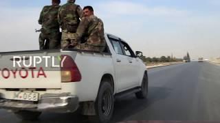 Syria: US troops and SAA cross paths on road between Manbij and Kobani *EXCLUSIVE*