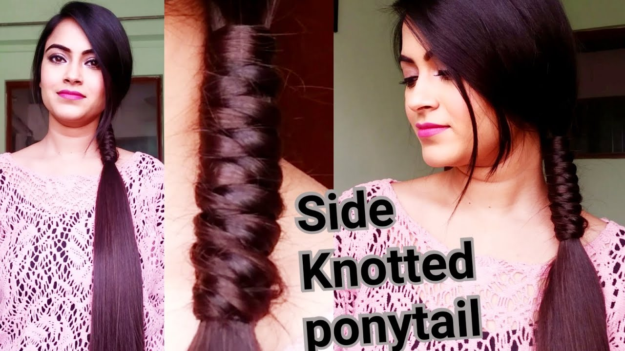 indian hairstyles for medium to long hair//side knotted ponytail//easy  hairstyles for college/work