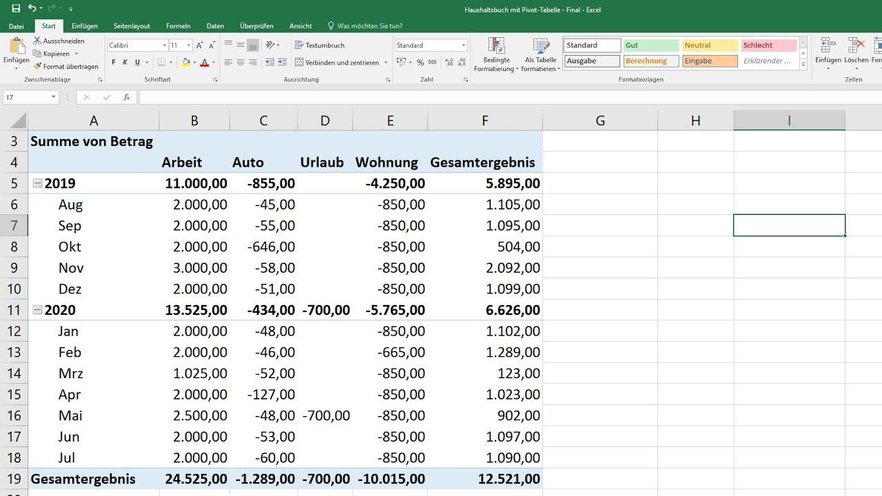 Haushaltsbuch Fuhren Mit Pivot Tabelle In Excel Erstellen Selber Machen Software Vorlage Youtube