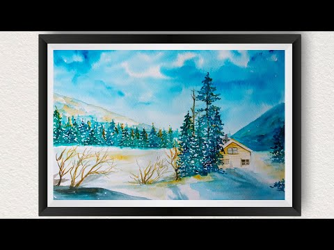 Watercolor painting for beginners How to draw Snowy Winter Landscape Scenery step by step tutorial