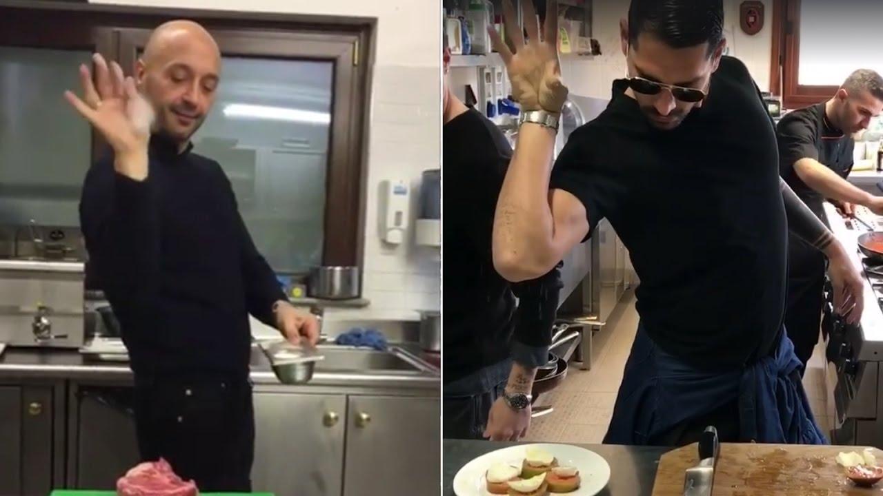 Saltbae Marco Borriello e Joe Bastianich come lo chef