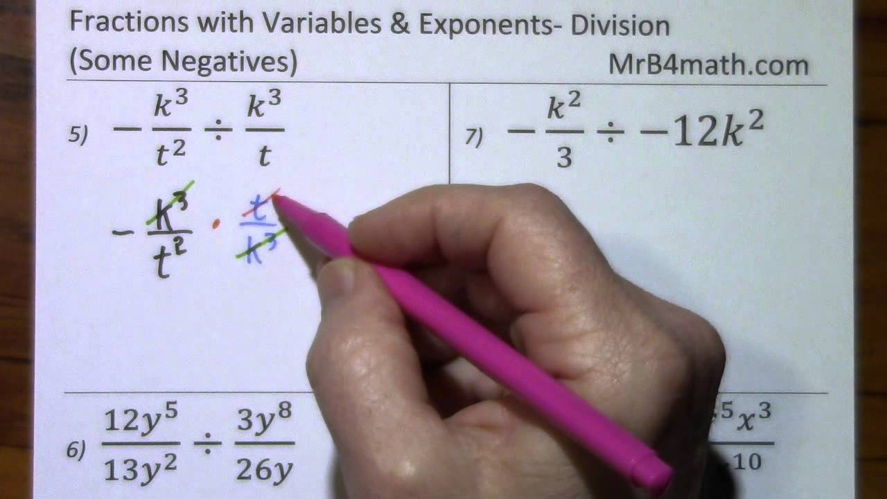 Fractions With Variables & Exponents Division (some Negatives)