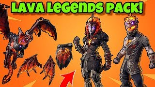 "NOUVEAU ""LAVA LEGENDS"" PACK In Fortnite Battle Royale (MOLTEN VALKYRIE - BATTLE HOUND, LAVAWING GLIDER)"