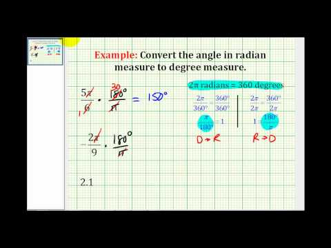 Examples: Convert Angles in Radian Measure to Degree Measure - YouTube