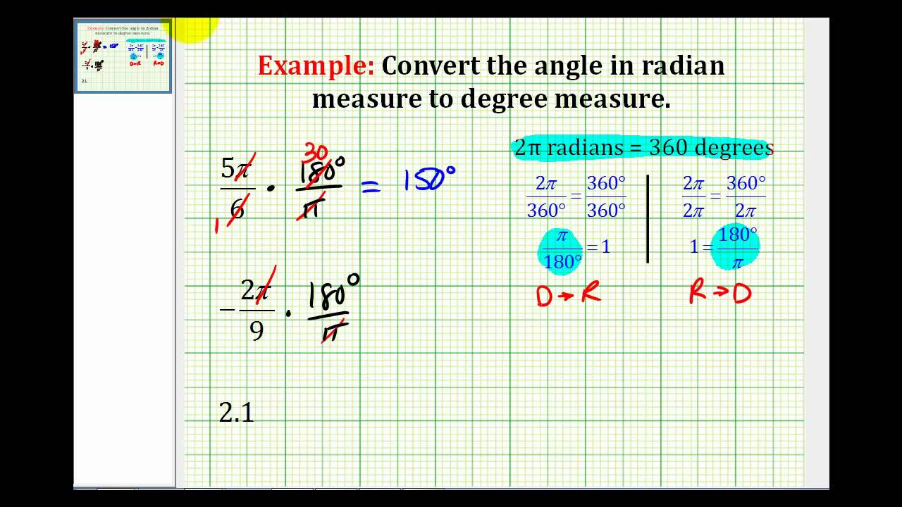 Examples: Convert Angles in Radian Measure to Degree Measure