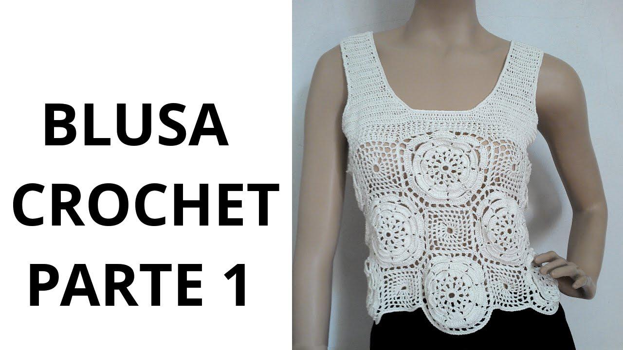 Blusa con Flores Parte1 en tejido crochet tutorial paso a paso ...