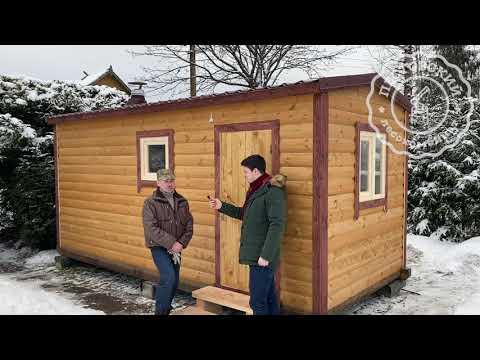 Перевозная баня 2,3х5 метров из бруса с 3-мя отделениями. ЛО, Лужский район, сад. массив «Мшинская»