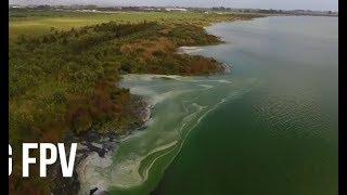 2018 Aerial video footage of Lake Horowhenua with algae bloom? something strange in the water...