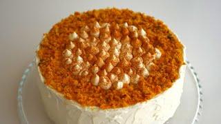 Торт морковный с яблочно сметанным кремом