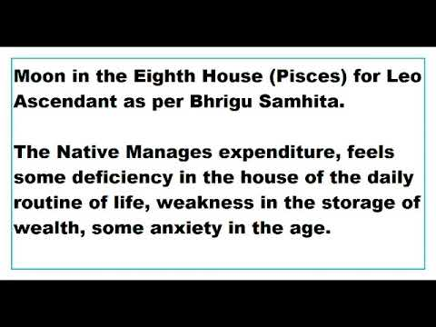 Moon in 8th House for Leo Ascendant as per Bhrigu Samhita - YouTube
