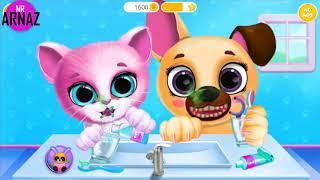 Pet Frends Cartoon   Fun Pet Care Game   Cat and Dog Cartoon For Kids
