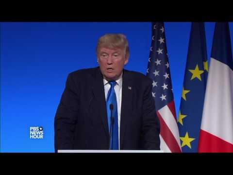 President Trump can't escape Russia questions in Paris