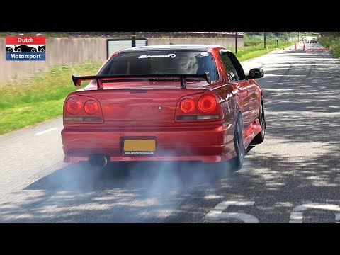 600HP Nissan Skyline R34 4-Door W/ RB26 Engine - Burnouts & Loud Accelerations!