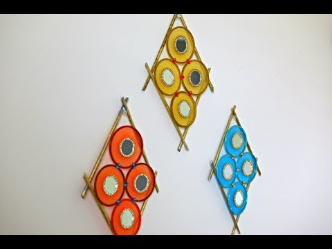 Bangles wall hanging best out of waste youtube for Waste out of best from bangles