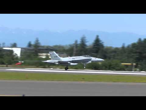 F/A-18 Hornets (fighter jets) landing at Everett. 11 August 2012