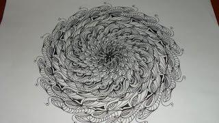 Mandala Mediante Zentangle. Es Maravilloso Hacer Este Ejercicio De Soltura Mediante Esta Técnica.