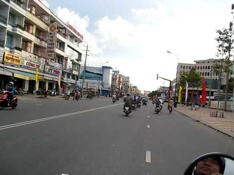 Going through down town Cao Lanh Vietnam on a Vespa LX150