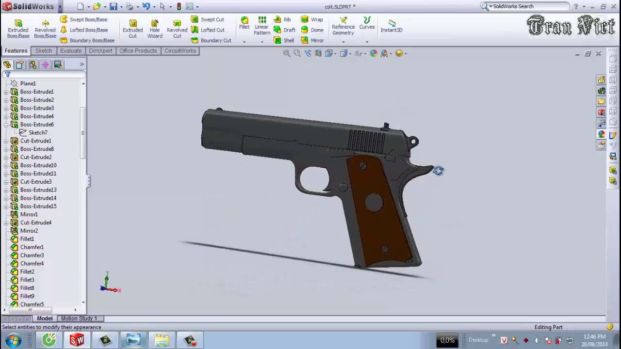 Solidworks tutorial colt m1911 pistol youtube for Design table not working solidworks