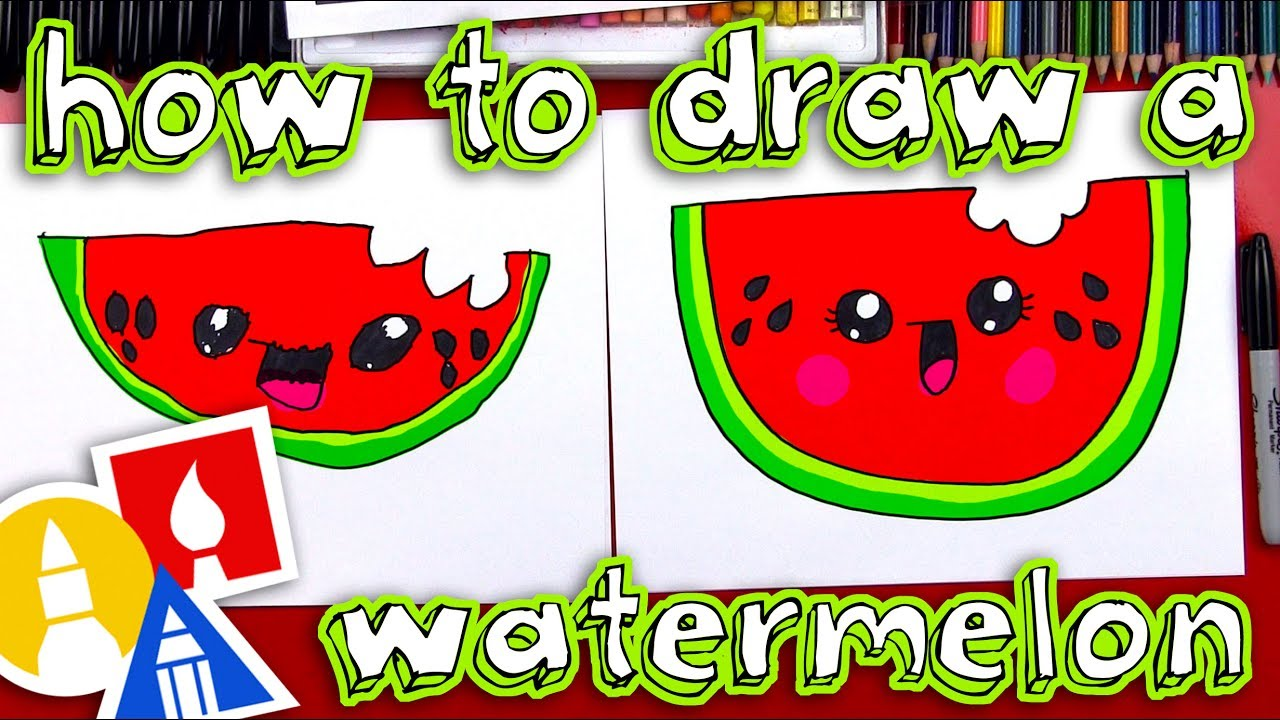 How To Draw A Cartoon Watermelon Youtube