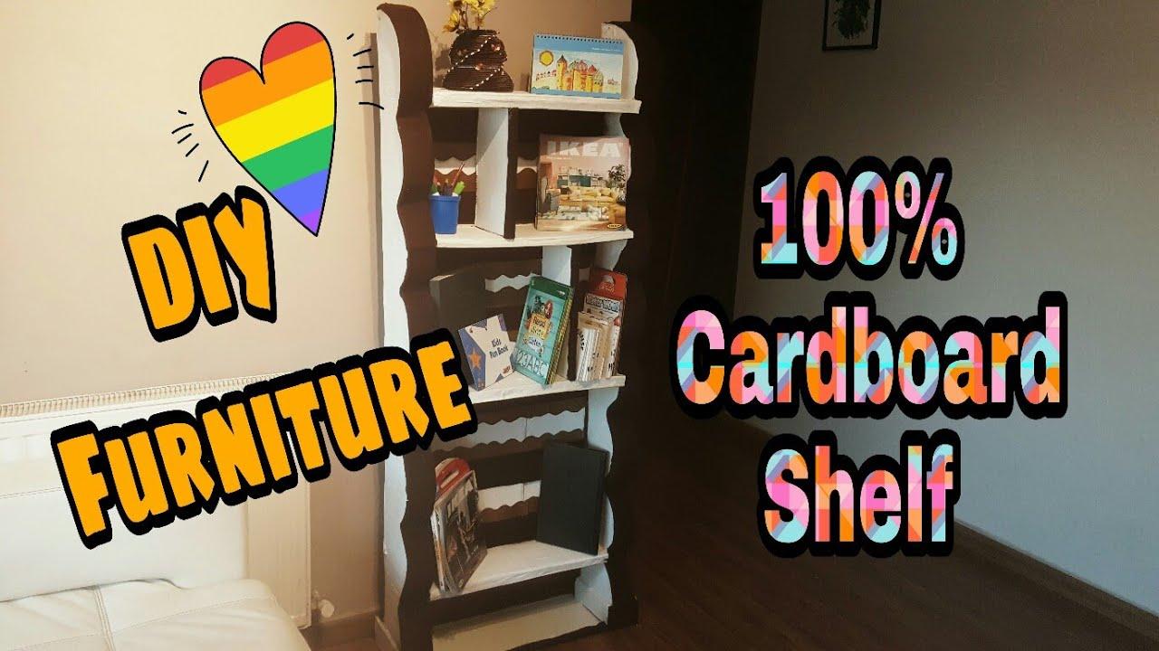 Diy Cardboard Shelf Cardboard Furniture How To Make Shelf From Cardboard