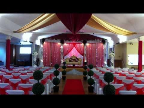 Royal Weddings Red Half Moon Crystal Stage Setup And