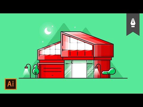 Adobe Illustrator Tutorial: İkonik Modern Ev Tasarımı #2 // Illustration thumbnail