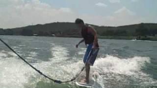 Nick Arab wakesurfing on Lake Austin