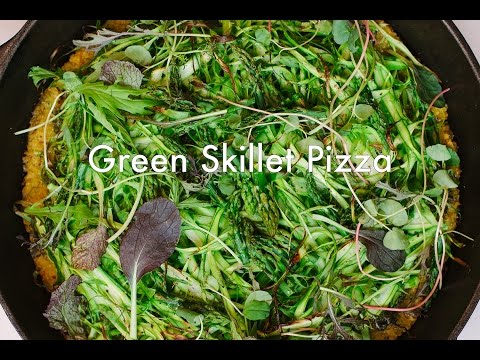 Green Skillet Pizza w/ Asparagus and Pesto (GF, VEGAN)