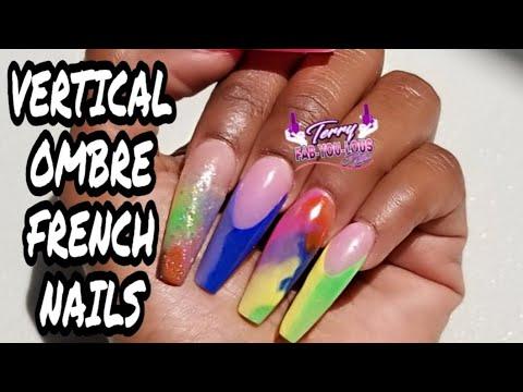 Acrylic nail tutorial  Vertical Ombre French  Rainbow Acrylic Nails thumbnail