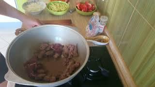 Тушёная лосятина с картошкой и овощами