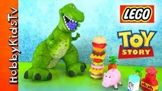 Disney Toy Story Rex Eats Lego Food! Cheeseburger Milk Grapes Pear Carrot Hamm Duplo By Hobbykidstv