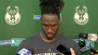 Former Badger Nigel Hayes works out with the Milwaukee Bucks