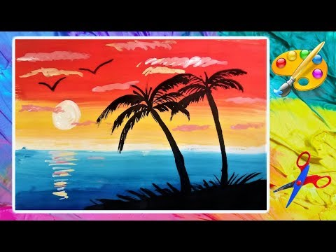 Супер просто! Как нарисовать закат на море, пляж.  Sunset On The Sea