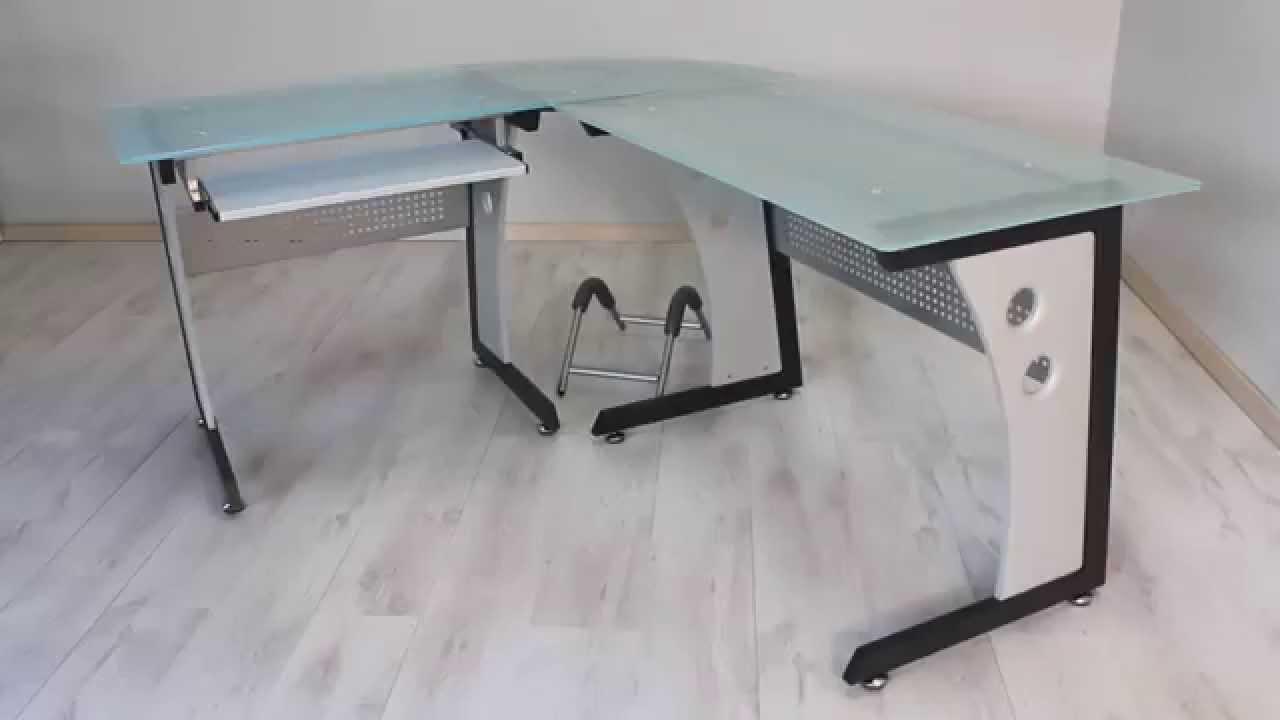 Tavolo scrivania computer postazione angolare pc ufficio mod office youtube - Scrivania vetro ikea ...