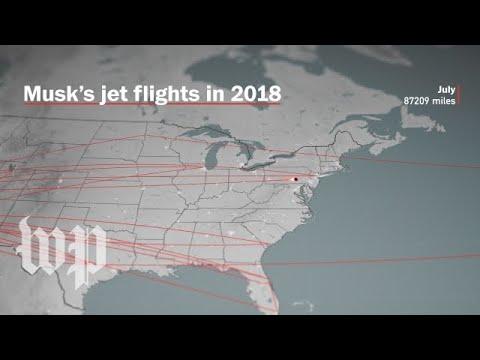 Watch Elon Musk's jet flights in 2018