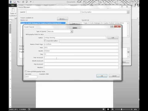 Create a Bibliography using MS Word 2013