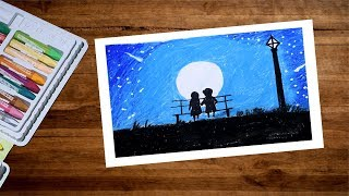 Landscape Moonlight Romantic Couple Drawing With Oil Pastel | Moonlight Scenery Drawing