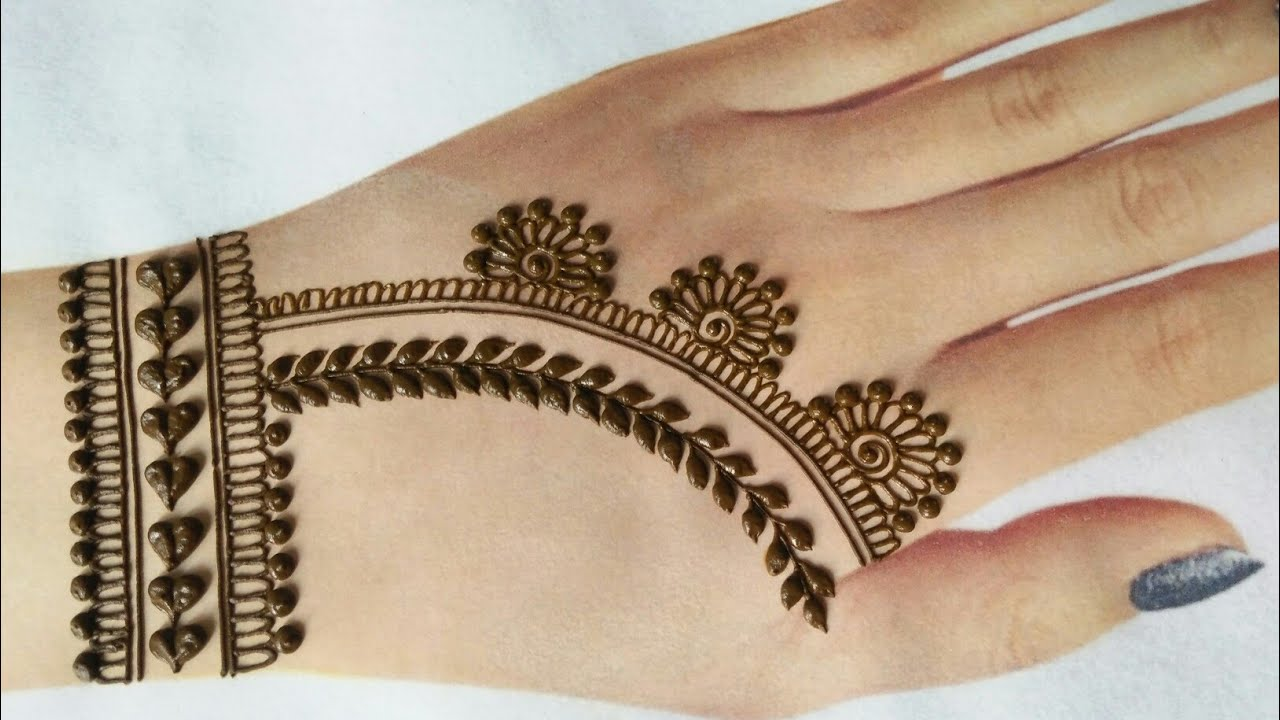 Easy simple jewelry style mehndi for back hands | Chain style gol tikki mehndi design 2020